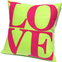 Pink and Green Love Pillow Cover Appliqued Eco-Felt - 18 inches