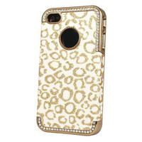 Bling Glitter Rhinestone Leopard Hard Case Cover For Apple iPhone 4 4G 4S Gold