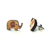 Little Elephants - Bamboo Wood Earrings - Laser cut - Stud - Cute