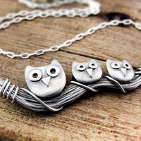 Owl family necklace  silver handmade by lulubugjewelry on Etsy