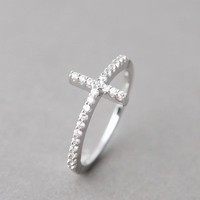 CZ STERLING SILVER SIDEWAYS CROSS RING WHITE GOLD SIDE CROSS RING CROSS JEWELRY by Kellinsilver.com - Sterling Silver Jewelry Online as ETSY