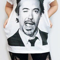 ROBERT Downey Jr Iron Man T-Shirt White T-Shirt Women Shirt Women T-Shirt Men T-Shirt Unisex T-Shirt Short Sleeve Tee Shirt Size S