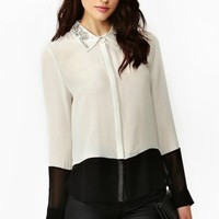 Crystallized Silk Blouse