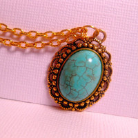 Turquoise Pendant Necklace Set In Gold