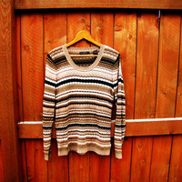 vintage liz claiborne striped sweater. size S to M. fall fashion