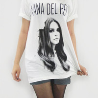 LANA DEL REY Chamber Pop Indie Alternative Rock T-Shirt Women T-Shirt Men T-Shirt Unisex T-Shirt White Tee Shirt Short Sleeve T-Shirt Size S