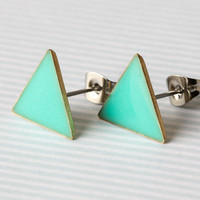 Mint Triangle Post Earrings