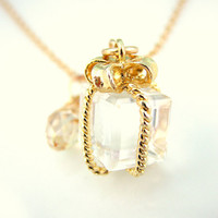 Gold Christmas gift Swarovski crystal charm necklace