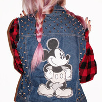 Mickey Mouse Studded Denim Vest