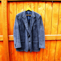 "vintage mens ""blue suede"" sport coat. ultra blue suede. heeksuede. blue suit coat for men. size L to XL"