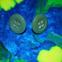 Sage Green  Cute as a Button Earrings, stud earrings