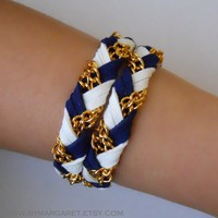 FUSION (GOLD) Blue&White nautical braided bracelet, friendship bracelet, leather bracelet, wrap around bracelet