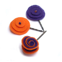 Felt Hair pins flower purple and orange swarovsky by JPwithlove