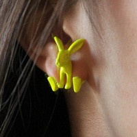 Yellow Rabit earrings / Boucles d&#x27;oreille en lapin