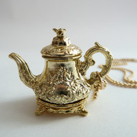 gold Tea pot necklace - Pendant alice in wonderland miniature gold ball chain royal gold tea pot unique gifts birthday girls