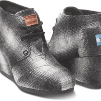 Plaid Wool Women's Desert Wedges | TOMS.com