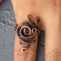 Whimsical ring- copper ring- chunky ring- indie ring-cool boho ring-unusual ring-wirewrapped ring-dreamy ring-fall ring