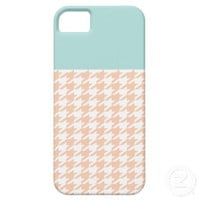 Mint and Peach Houndstooth iPhone 5 Covers from Zazzle.com