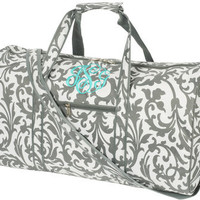 Monogrammed Grey Floral Large Duffel Bag