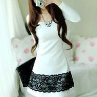 Classic Korean Fashion Silm Lace Long Sleeve Pure Cotton Wcloset Dress C8223