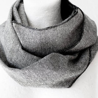 October SALE Unisex Grey Wool Loop Circle Scarf by WhiteMoth