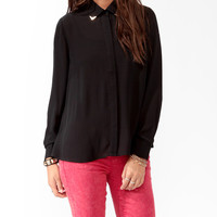 High-Low Metal Trim Shirt | FOREVER21 - 2025592990