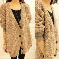 Furry plush sweater COAT 2012 women winter OVERSIZED Japanese korean fashion WOW