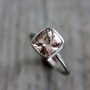 MORGANITE Ring in 14k White Gold Ring Brushed by onegarnetgirl