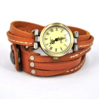 Light Brown Wrap Leather Strap Watch