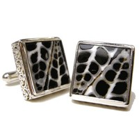 Square Alligator Shell and Sterling Silver Cufflinks-DD-I21-02800