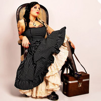 Arabella dress Pinstripe steampunk dolly gothic by xcyanidekissx