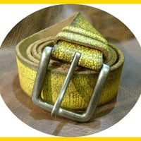 cracked leather vintaged yellow unisex belt