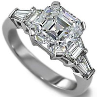 Engagement Ring - Asscher Cut diamond Engagement Ring setting with trapezoids and baguettes 0.60 tcw. - ES25AC