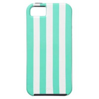 Mint Green And Vertical White Stripes Patterns iPhone 5 Cases from Zazzle.com