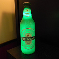 Wireless Heineken Beer 12 .OZ Neon Light Lamp Sign Real Bottle Man Cave Steady or Flashing
