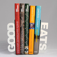 Modern  bookends - Good eats - for your favourite cookbooks, laser cut from metal
