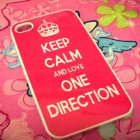 Hot Pink Keep Calm and Love One Direction iPhone 4/4S or iPhone 5 Case models 1D