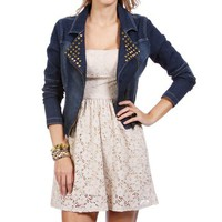 Denim Moto Studded Jacket