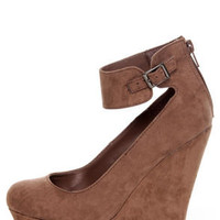 Cilo 41 Blush Brown Ankle Strap Platform Wedges