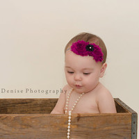 Baby Girl Flower Headband..Baby Headband..Purple Shabby Flowers..Newborn Headband..Toddler Headband