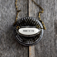 Memory Words Necklace by Mad Tea Garden by madteagarden on Etsy