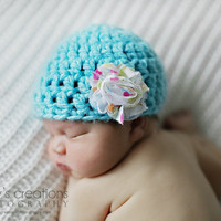 Crochet Baby Hat Baby Girl Hat Baby Beanie Flower Hat Crochet Hat  Infant Hat Newborn Hat Flower Hat Photo Prop Blue