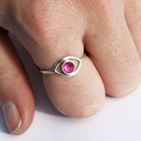Ruby Evil Eye Ring, Eye Ring with Ruby Spike, Sterling Silver, Bezel Set Upside Down Ruby