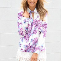 SABO SKIRT  Floral Drape Collar Blouse - $52.00