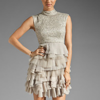 Alice + Olivia Hattie Lace Tiered Dress in Silver from REVOLVEclothing.com