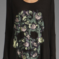Lauren Moshi Tylie Color Vine Skull Draped Tee in Black from REVOLVEclothing.com