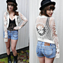 vintage 90S CROCHET TOP/boho/retro/festival/90s hippie crochet/cardigan/women&#x27;s knitwear s/m