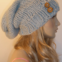 Light Blue Sparkle Hand Knit Slouchy Oversized Chunky Ribbed Beanie Hat With Wood Buttons