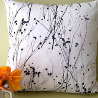 Baby&#x27;s breath white hand printed pillow cover by susanshinnick