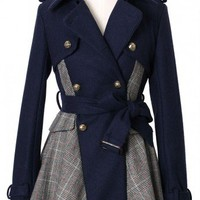 Double Breasted Check Coat with Belt in Navy - Retro, Indie and Unique Fashion